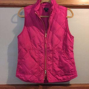 J. Crew Quilted Excursion Vest Hot Pink sz S